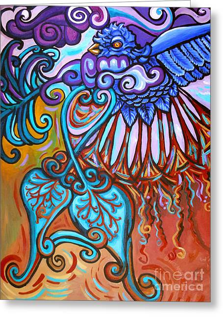 Acrylic On Stretched Canvas Greeting Cards - Bird Heart IV Greeting Card by Genevieve Esson