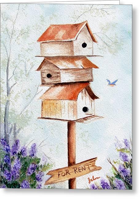 Zelma Hensel Greeting Cards - Bird House Hotel Greeting Card by Zelma Hensel
