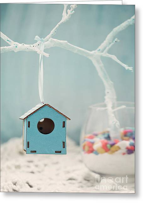 Artificial Flowers Greeting Cards - Bird house Greeting Card by Mythja  Photography