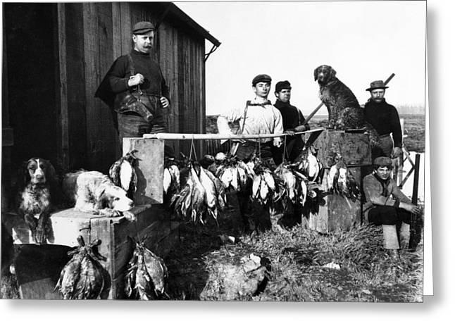 Hunting Bird Greeting Cards - BIRD HUNTERS and BIRD DOGS 1890 Greeting Card by Daniel Hagerman