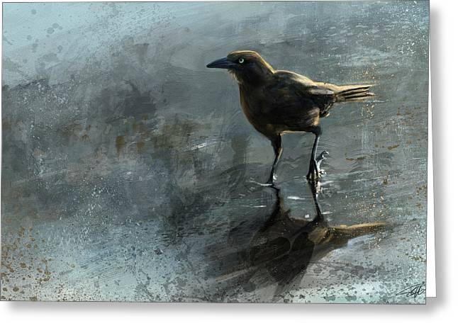 Brown Birds Greeting Cards - Bird In A Puddle Greeting Card by Steve Goad