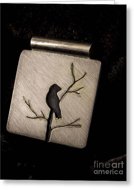 Bird Jewelry Greeting Cards - Bird in Branch Greeting Card by Patricia  Tierney