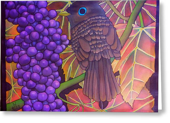 Grape Leaf Tapestries - Textiles Greeting Cards - Bird in grape  Greeting Card by Edvinas Misiukevicius