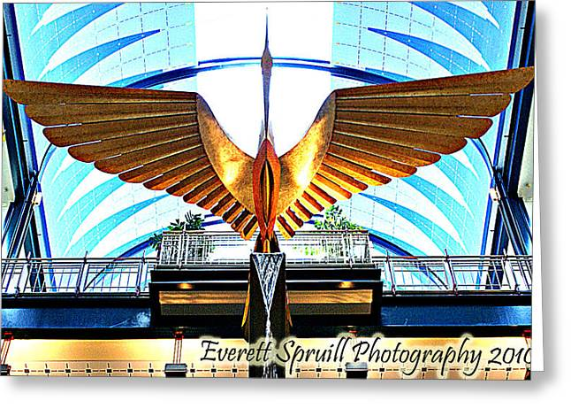 African-american Institute Greeting Cards - Bird in the Building Greeting Card by Everett Spruill