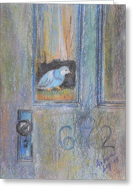 Old Door Pastels Greeting Cards - Bird In The Door Greeting Card by Andrea Flint Lapins