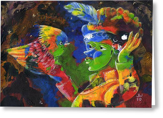 Whimsy Greeting Cards - Bird in the hand Greeting Card by June Walker