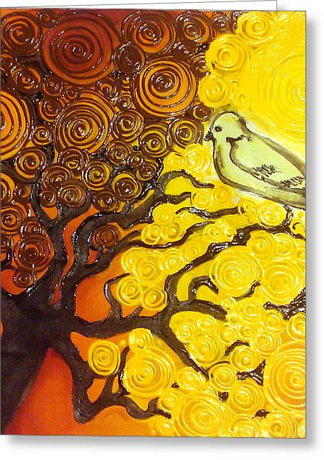 Fall Tapestries - Textiles Greeting Cards - Bird in Tree Greeting Card by Ohso Faboolus