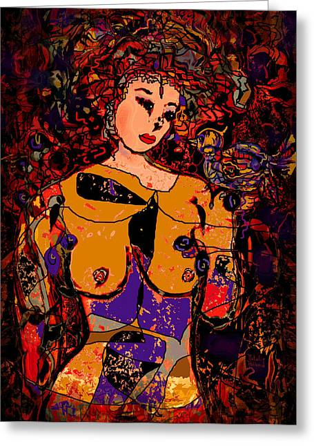 Designs On Face Greeting Cards - Bird Lady Greeting Card by Natalie Holland