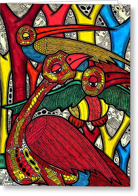 Bold Style Greeting Cards - Bird life Greeting Card by Muktair Oladoja