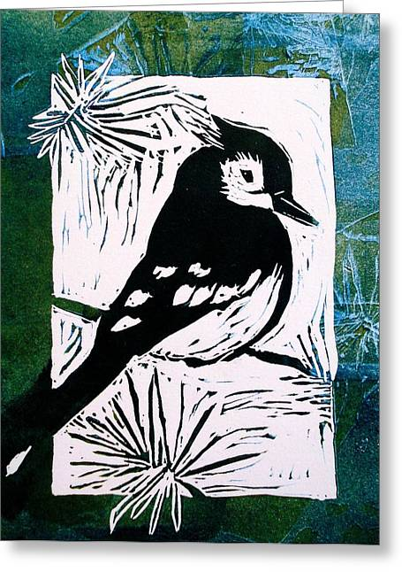 Pines Reliefs Greeting Cards - Bird Linocut 3 Greeting Card by Penny OHalloran