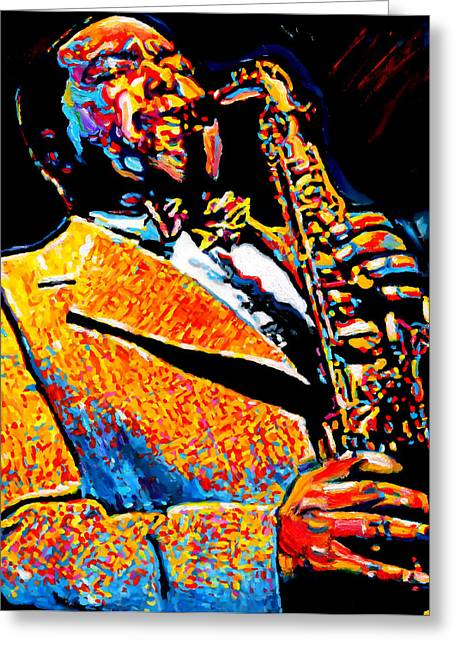 Improvisation Greeting Cards - Bird Lives-Charlie Parker Greeting Card by Vel Verrept