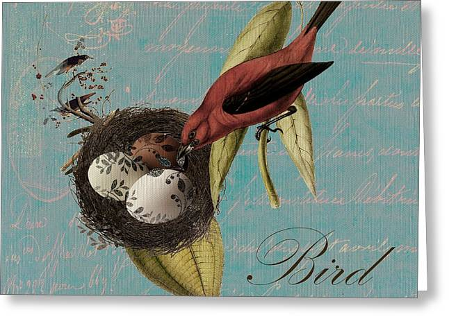 Square Format Greeting Cards - Bird Nest - 02v02t01 Greeting Card by Variance Collections