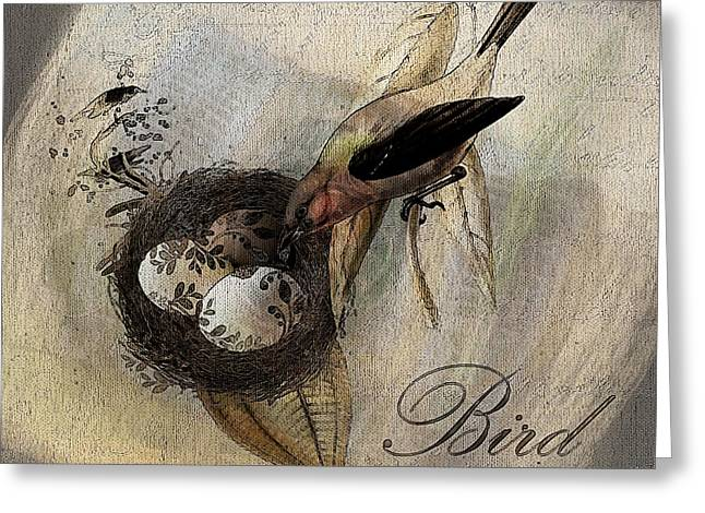 Brown Birds Greeting Cards - Bird Nest - sp11ac02 Greeting Card by Variance Collections
