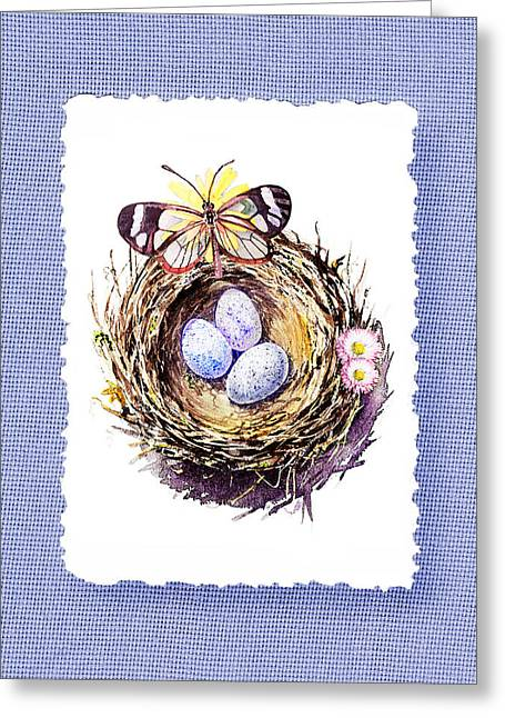 Glass Vase Paintings Greeting Cards - Bird Nest With Daisies Eggs And Butterfly Greeting Card by Irina Sztukowski