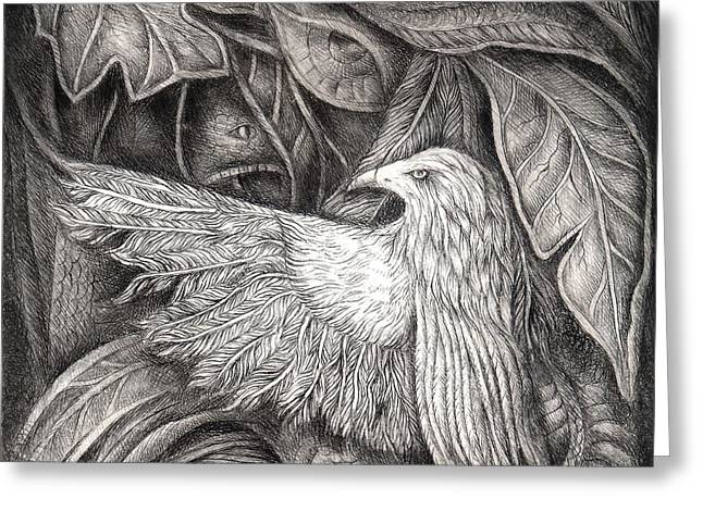 Drypoint Greeting Cards - Bird of life Greeting Card by Praphavit Premtha