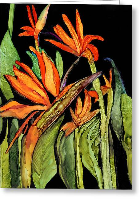Alcohol Inks Greeting Cards - Bird of Paradise  Greeting Card by Elaine Hodges