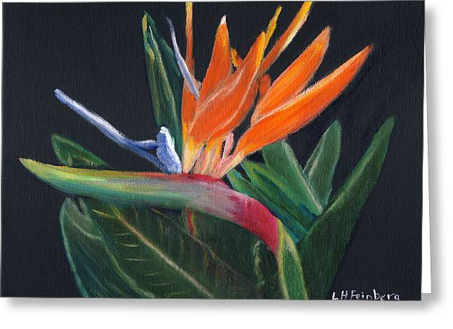 Strelitzia Paintings Greeting Cards - Bird of Paradise in oil Greeting Card by Linda Feinberg