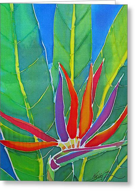 Paradise Tapestries - Textiles Greeting Cards - Bird of Paradise Greeting Card by Kelly  ZumBerge