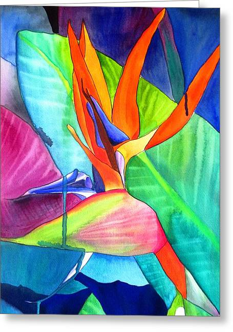 Strelitzia Paintings Greeting Cards - Bird of Paradise Strelitzia Greeting Card by Sacha Grossel