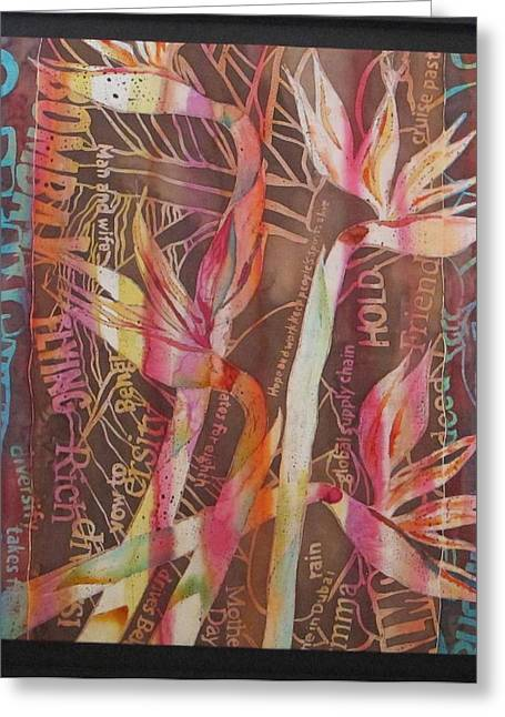 Artist Tapestries - Textiles Greeting Cards - Bird Of Paradise with Lettering Greeting Card by Beena Samuel