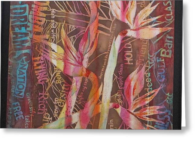 Bird Of Paradise with Lettering Greeting Card by Beena Samuel