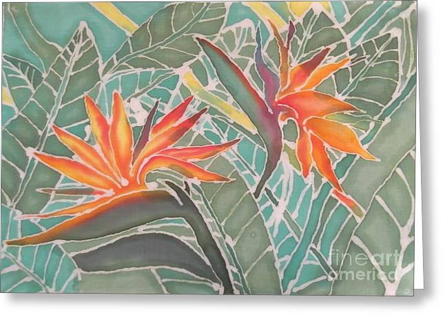Hawaii Tapestries - Textiles Greeting Cards - Bird of Paridise Greeting Card by Jamie Schab