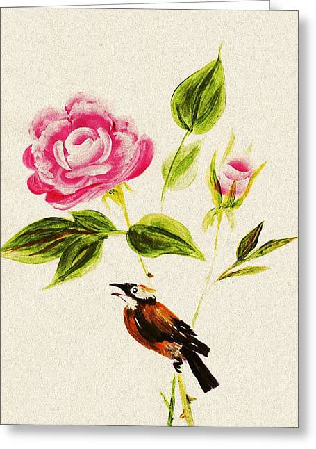 Malakhova Greeting Cards - Bird on a Flower Greeting Card by Anastasiya Malakhova