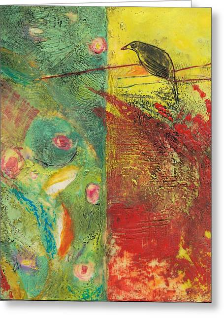Encaustic Greeting Cards - Bird on a Wire Greeting Card by Barbara Hranilovich
