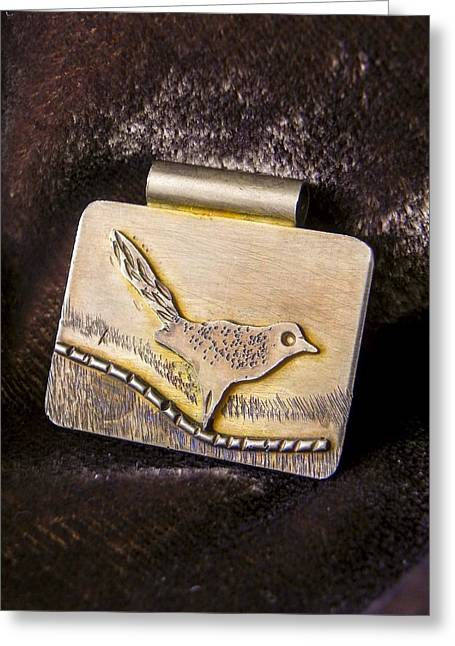 Bird Jewelry Greeting Cards - Bird on a Wire Greeting Card by Patricia  Tierney