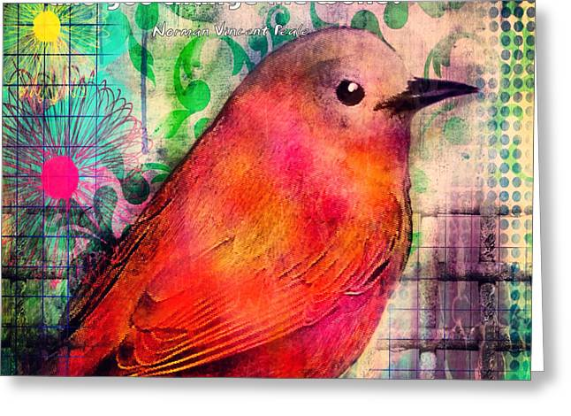 Journal Greeting Cards - Bird on a Wire Greeting Card by Robin Mead