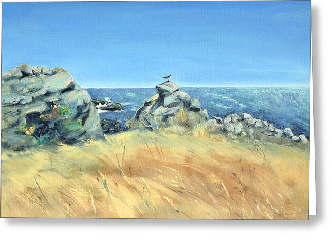 Sonoma County Paintings Greeting Cards - Bird on Rock and Silvery Blue Sea Greeting Card by Asha Carolyn Young