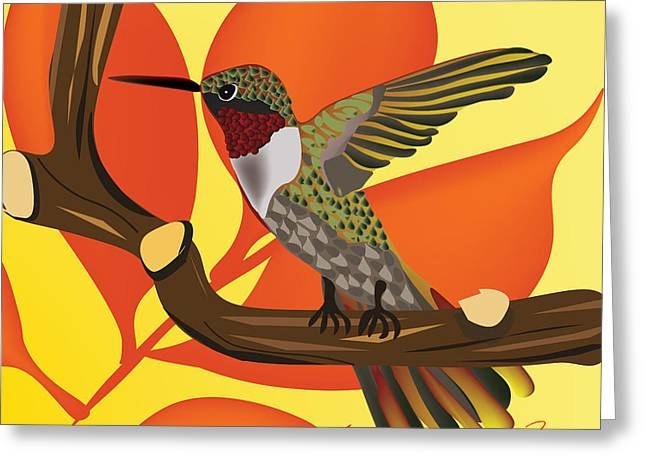 Bird On Stick Greeting Card by Hope Linton