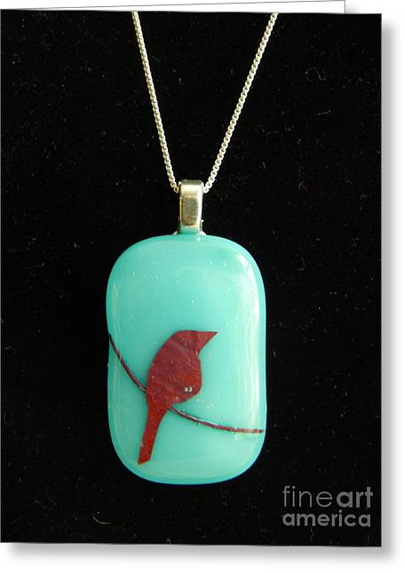Wire Jewelry Greeting Cards - Bird on Wire pendant Greeting Card by Patricia  Tierney