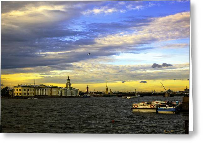 Historical Buildings Greeting Cards - Bird Over the Volga River - St Petersburg Greeting Card by Madeline Ellis