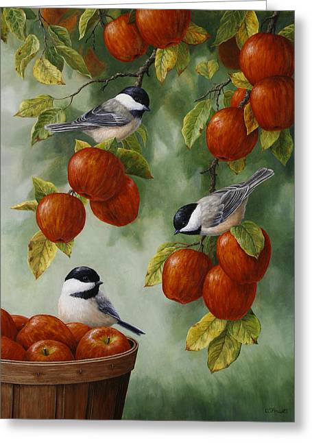 Red Leaves Greeting Cards - Bird Painting - Apple Harvest Chickadees Greeting Card by Crista Forest