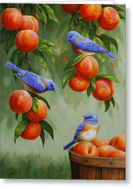 Bird Painting - Bluebirds And Peaches Greeting Card by Crista Forest