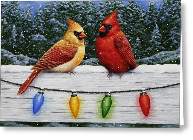 Winter Trees Greeting Cards - Bird Painting - Christmas Cardinals Greeting Card by Crista Forest