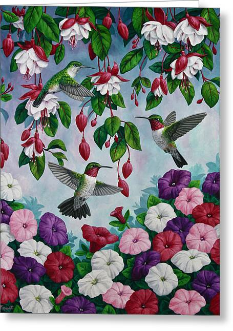 Flowers Flowers And Flowers Greeting Cards - Bird Painting - Hummingbird Heaven Greeting Card by Crista Forest