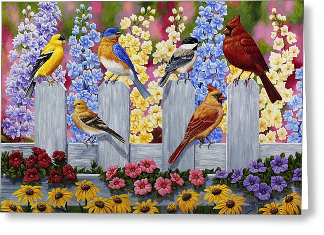 Larkspur Greeting Cards - Bird Painting - Spring Garden Party Greeting Card by Crista Forest