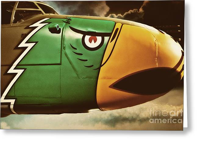 Military Airplanes Greeting Cards - Bird Plane in Color Greeting Card by Emily Kay