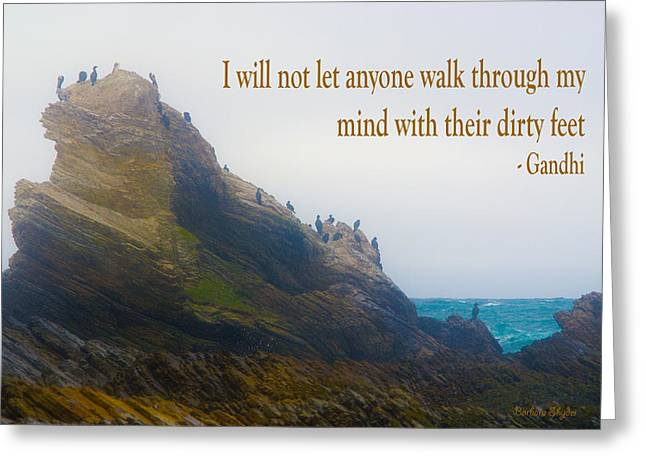Montana De Oro Greeting Cards - Bird Rock Gandhi Quote Greeting Card by Barbara Snyder