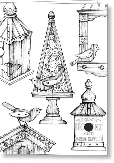 Flower Boxes Drawings Greeting Cards - Bird Seed Box Greeting Card by Mark Davies