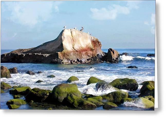 Bird Sentry Rock At Dana Point Harbor Greeting Card by Elaine Plesser