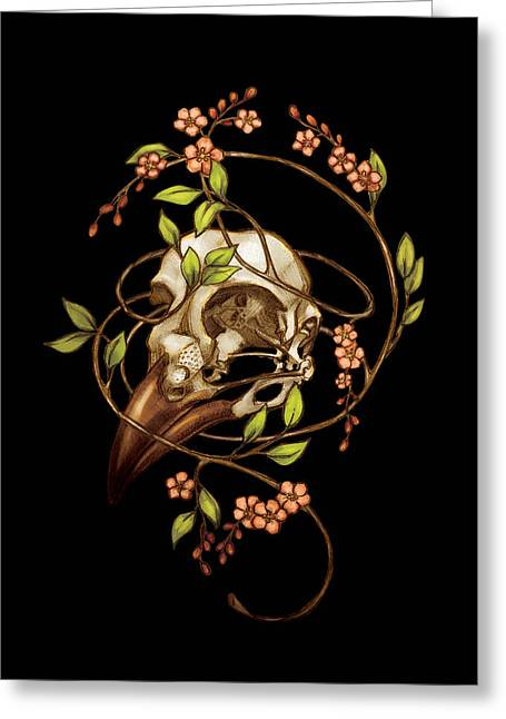 Hunters Moon Greeting Cards - Bird Skull and Vine Greeting Card by Catherine Noel