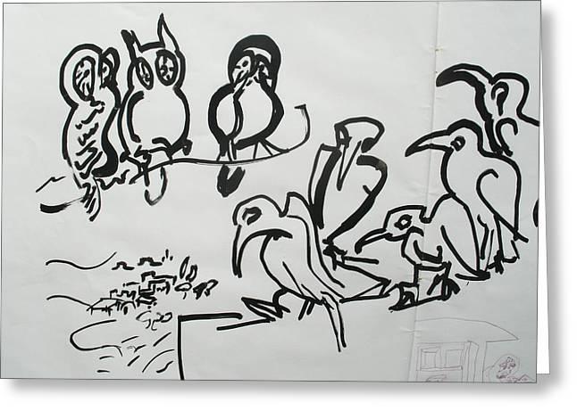 Bird Talk Greeting Card by Godfrey McDonnell