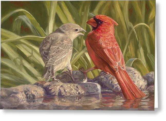 Birdbath Greeting Cards - Bird Talk Greeting Card by Lucie Bilodeau