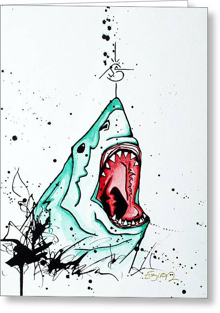 Morphed Mixed Media Greeting Cards - Bird vs. Shark Greeting Card by Emily Pinnell