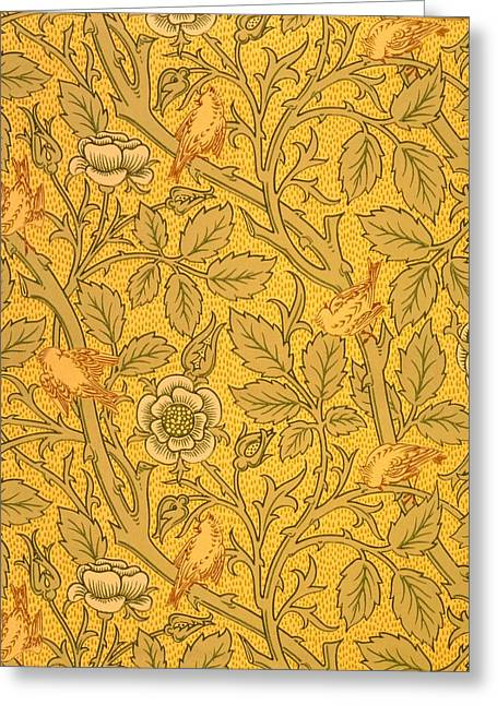 Green And Yellow Tapestries - Textiles Greeting Cards - Bird wallpaper design Greeting Card by William Morris