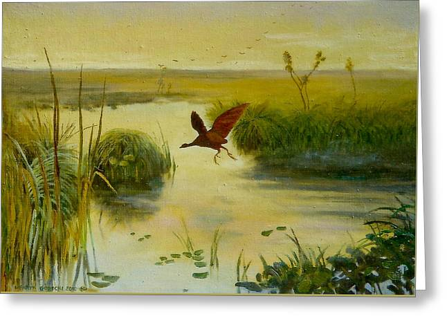 Fluttering Paintings Greeting Cards - Bird water Greeting Card by Henryk Gorecki