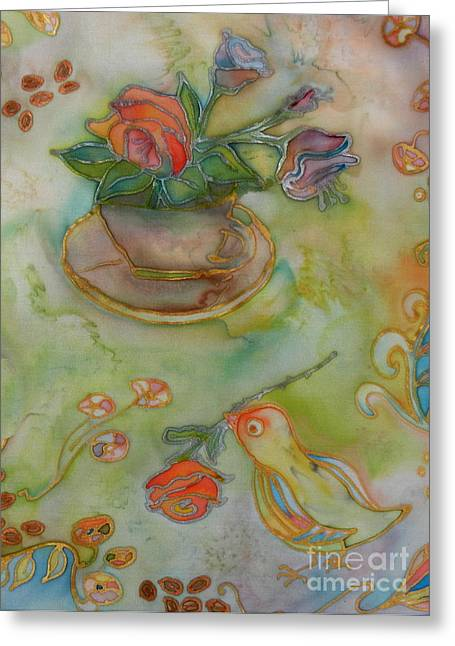 Cup Tapestries - Textiles Greeting Cards - Bird With A Flower 2 Greeting Card by Ruta Naujokiene